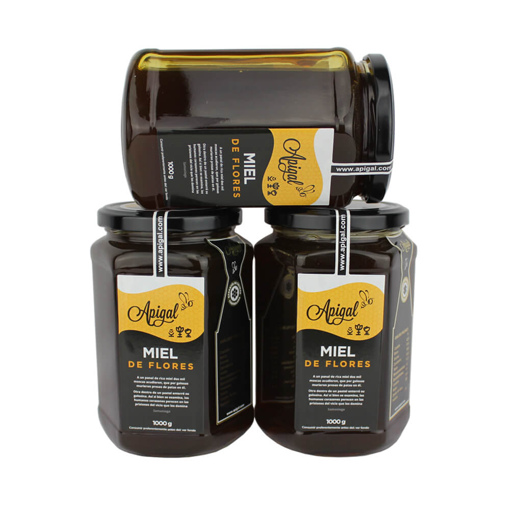 Apigal Flower Honey Pack - 3 potes de 1 kg