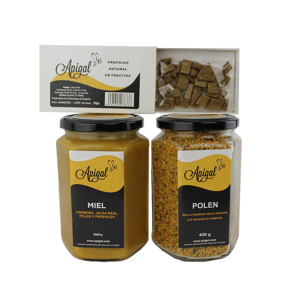 Pack Defensas - 1 bote miel 1 kg, 1 bote polen 450g y 1 caja propóleo 20 g