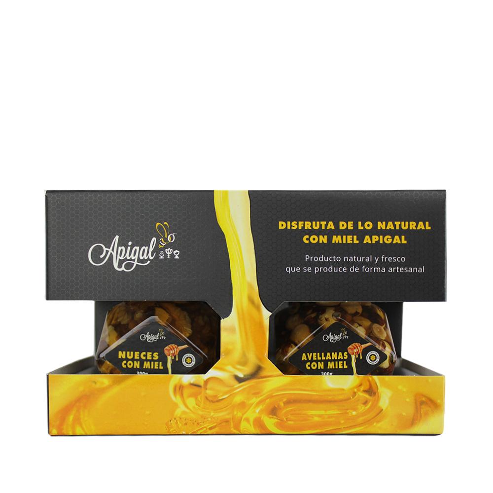 Pack miel con nueces 300 g, miel con avellanas, cuchara y estuche de diseño.