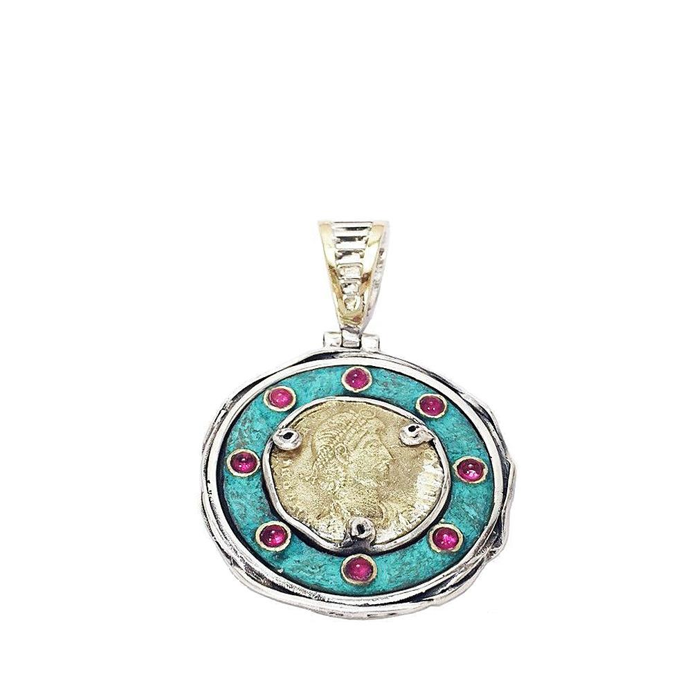 Altana Silver Pendant, Bronze with Roman Coin