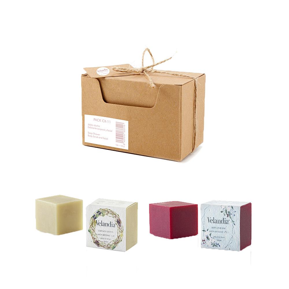 Pack C-X11 Jabón ducha artesanal y Exfoliante *facial y corporal