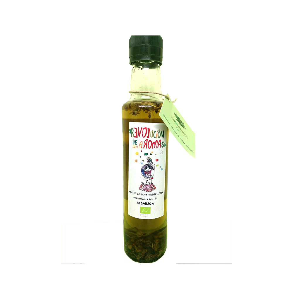Aceite de oliva virgen extra eco. Condimentado con albahaca
