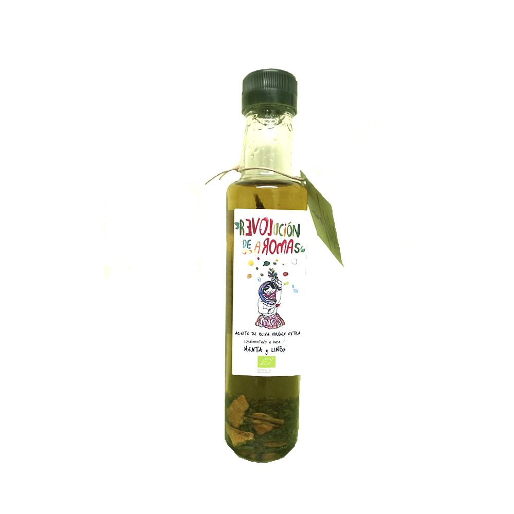 Aceite de oliva virgen extra eco. Condimentado con menta y limón