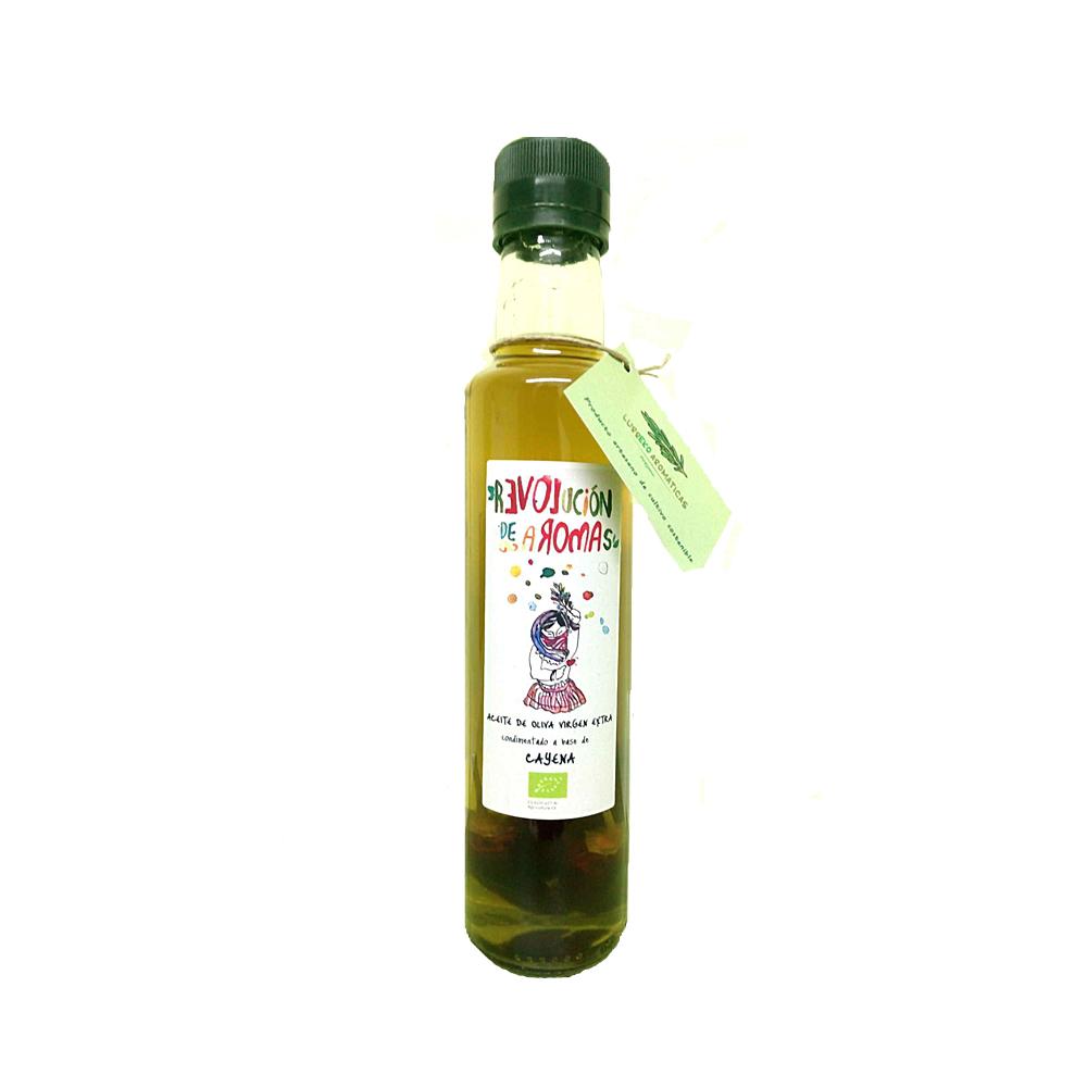 Aceite de oliva virgen extra eco. Condimentado con cayena
