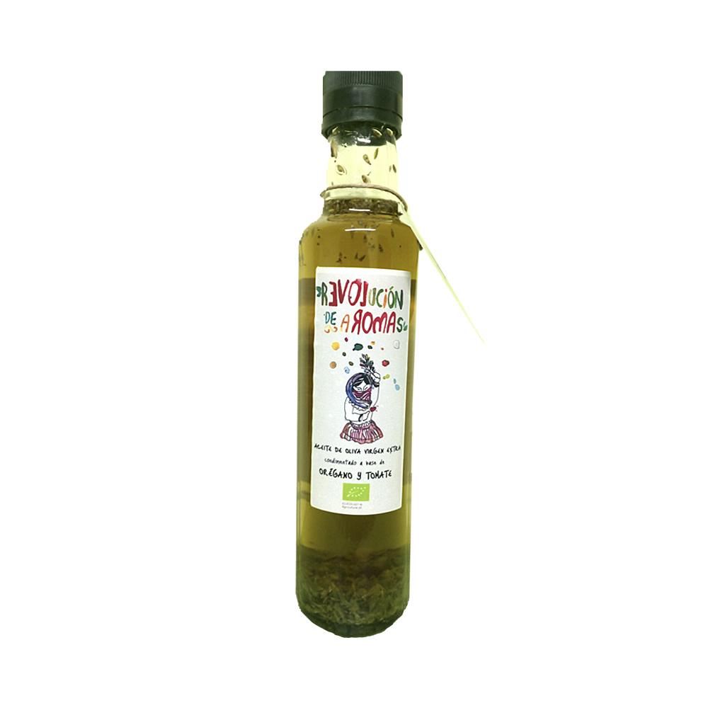 Aceite de oliva virgen extra eco. Condimentado con orégano y tomate