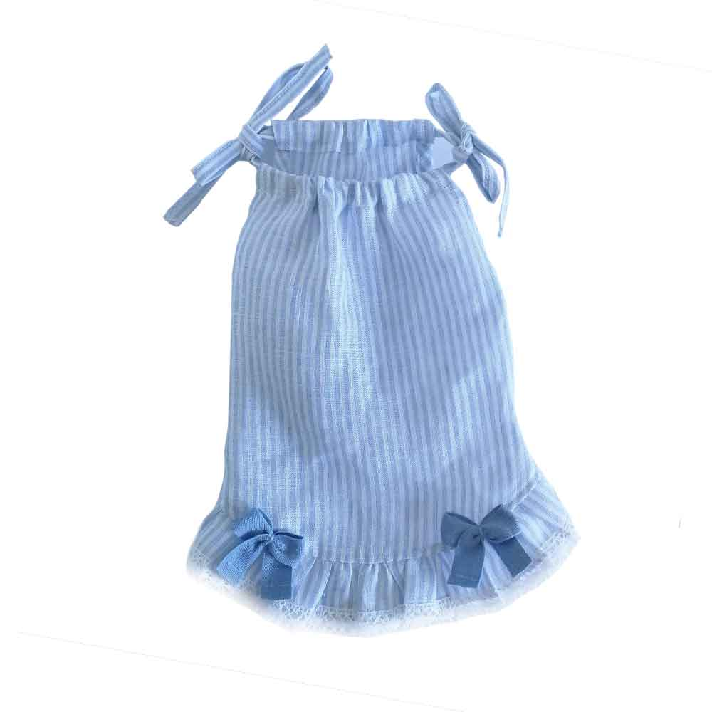 "Totó for lovely dogs Vestido lino ""blue stripes"""