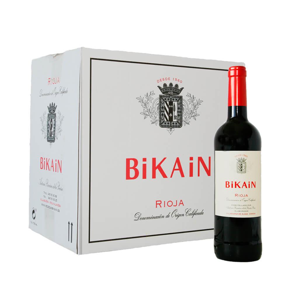 Caja 12 botellas de vino tinto DOC Rioja 2018 (12*0,75cl) | Bikain