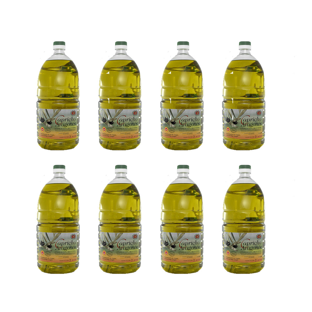 Caja con 8 botellas de 2 litros de aceite de oliva aragonés