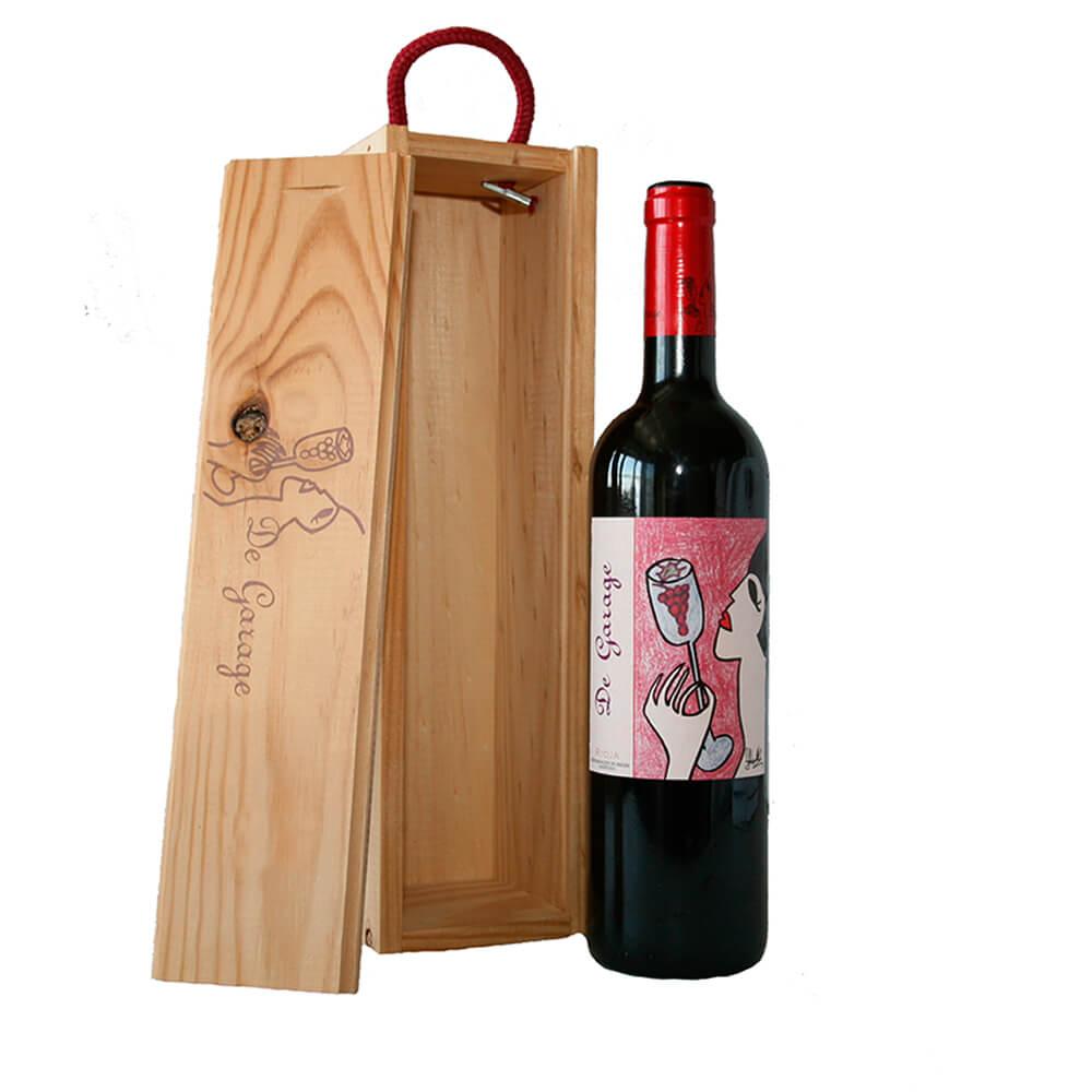 Estuche de madera con 1 botella de vino tinto de autor DOC Rioja 2016 (1*0,75cl)   De Garage