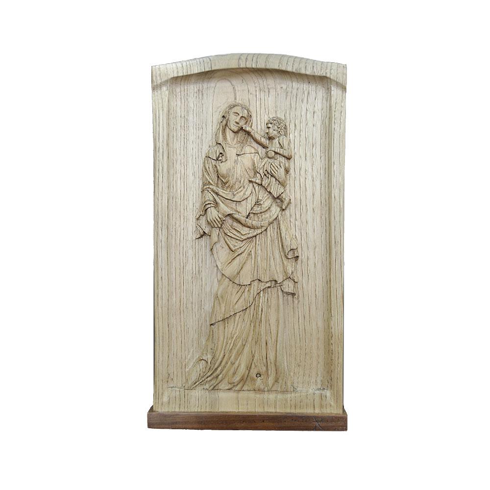 Relieve virgen gótica en madera