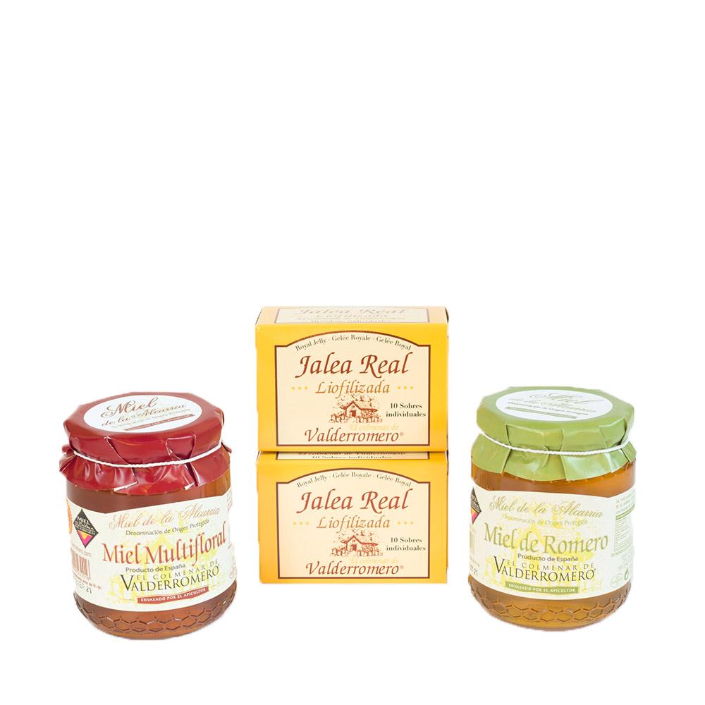 Pack 2 tarros miel multifloral y romero 500g D.O La Alcarria + 2 cajas Jalea real liofolizada