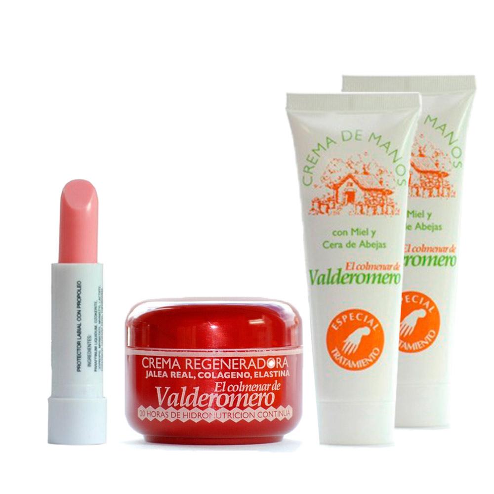 Lote de cosmética: 2 cremas de mano 75 ml, crema regeneradora 50 ml y protector de labios