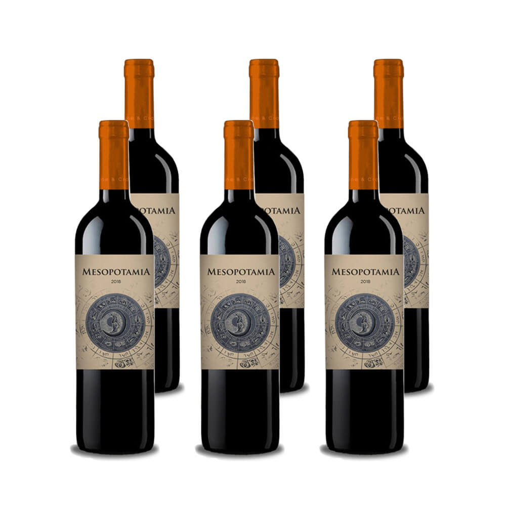 Pack de 6 botellas de vino tinto Mesopotamia Roble 2018.