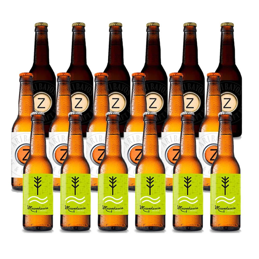Cervezas variadas Aribayos - Pack 18 botellas 33 cl